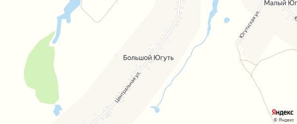 Центральная улица на карте деревни Большого Югути с номерами домов