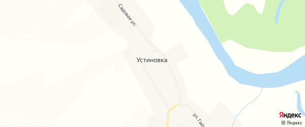 Карта деревни Устиновки в Чувашии с улицами и номерами домов
