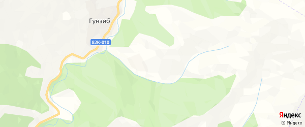Карта села Гунзиба в Дагестане с улицами и номерами домов