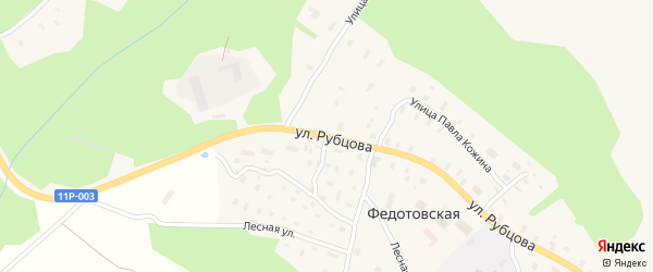 Улица Рубцова на карте Федотовской деревни с номерами домов