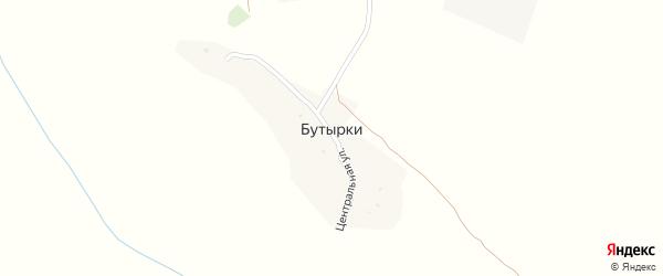 Центральная улица на карте хутора Бутырки с номерами домов
