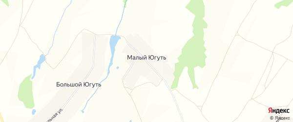 Карта деревни Малого Югути в Чувашии с улицами и номерами домов