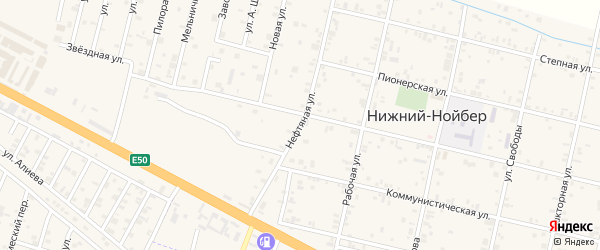 Нефтяная улица на карте поселка Ойсхары с номерами домов