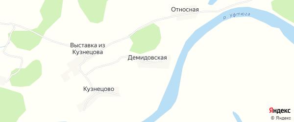 Карта Демидовской деревни в Архангельской области с улицами и номерами домов