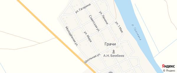 Улица Мира на карте села Грачи с номерами домов