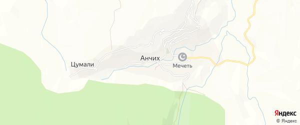 Карта села Анчиха в Дагестане с улицами и номерами домов