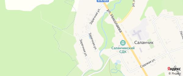 Заречная улица на карте поселка Саланчик с номерами домов