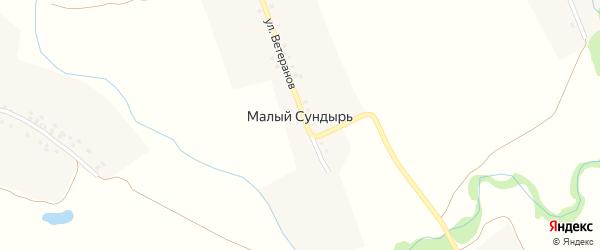 Улица Ветеранов на карте деревни Малого Сундыря с номерами домов