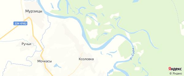 Карта Козловского сельского поселения республики Чувашия с районами, улицами и номерами домов