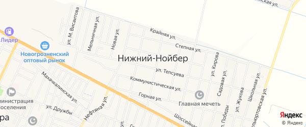 Карта села Нижний-Нойбер в Чечне с улицами и номерами домов