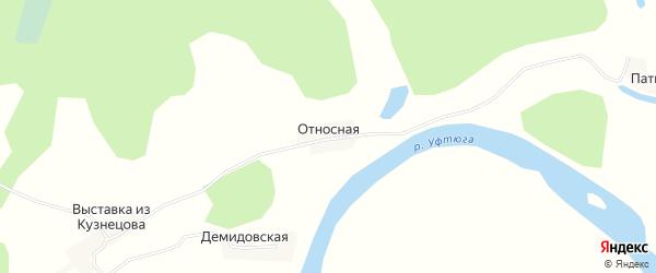 Карта Относной деревни в Архангельской области с улицами и номерами домов