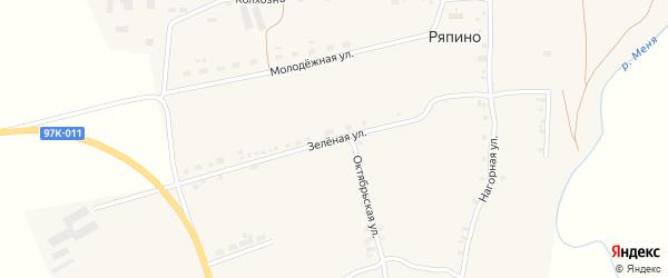 Зеленая улица на карте села Ряпино с номерами домов