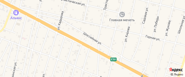 Шоссейная улица на карте села Нижний-Нойбер с номерами домов