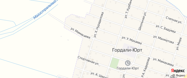 Улица Нурадилова на карте села Гордали-Юрт с номерами домов