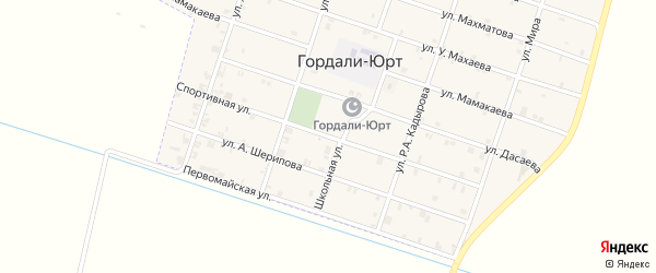 Спортивная улица на карте села Гордали-Юрт с номерами домов