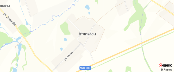Карта деревни Атликас в Чувашии с улицами и номерами домов