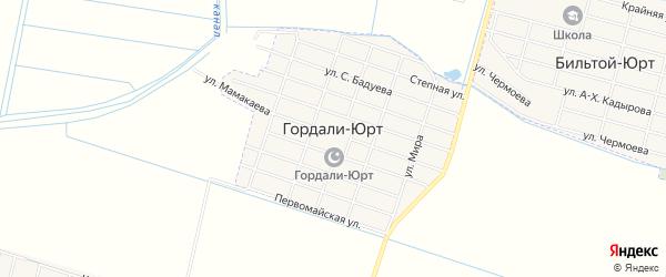Карта села Гордали-Юрт в Чечне с улицами и номерами домов