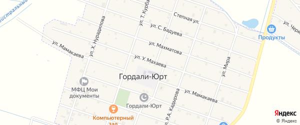 Центральная улица на карте села Гордали-Юрт с номерами домов