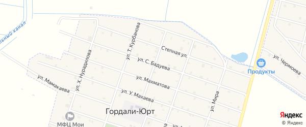 Улица С.Бадуева на карте села Верхнего Герзель с номерами домов