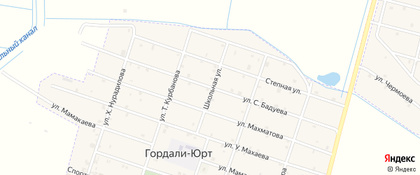 Улица С.Бадуева на карте села Гордали-Юрт с номерами домов