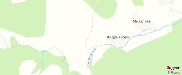 Карта деревни Андрияново в Архангельской области с улицами и номерами домов