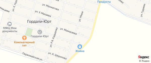Улица Мира на карте села Гордали-Юрт с номерами домов