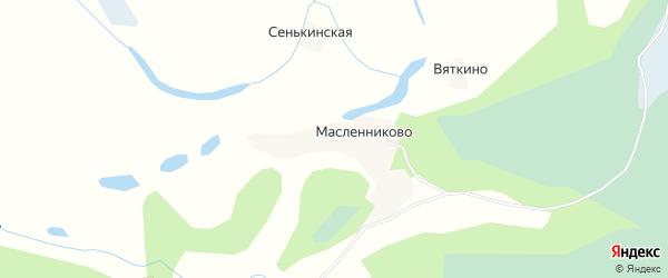 Карта деревни Вяткино в Архангельской области с улицами и номерами домов