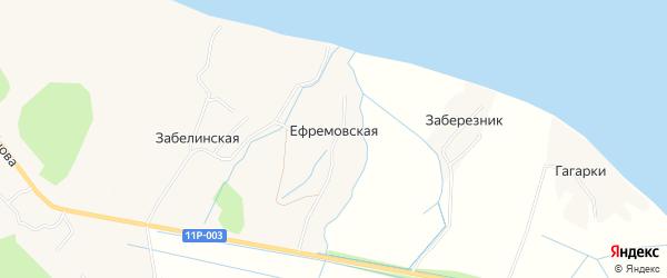 Карта Ефремовской деревни в Архангельской области с улицами и номерами домов