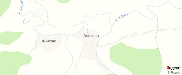 Карта деревни Аносово в Архангельской области с улицами и номерами домов