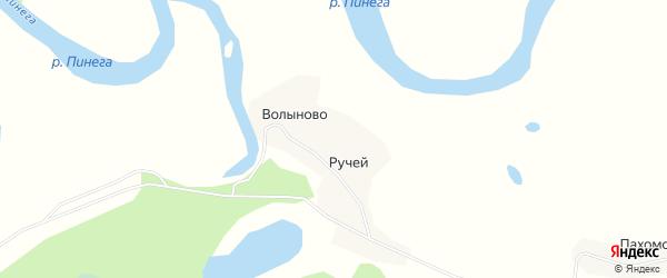 Карта деревни Волыново в Архангельской области с улицами и номерами домов