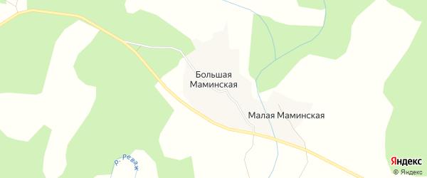 Карта Большей Маминской деревни в Архангельской области с улицами и номерами домов
