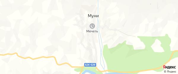 Карта села Муни в Дагестане с улицами и номерами домов