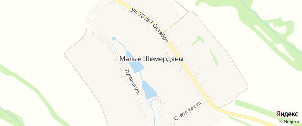 Улица 70 лет Октября на карте деревни Малые Шемердяны с номерами домов