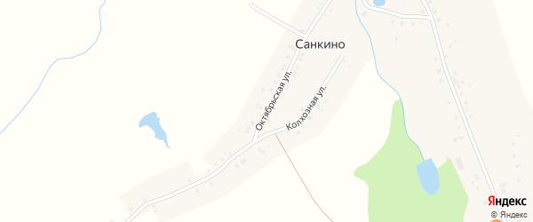 Октябрьская улица на карте деревни Санкино с номерами домов