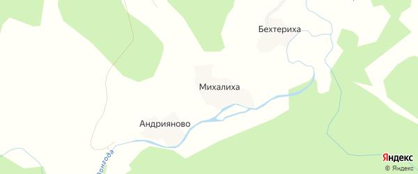 Карта деревни Михалихи в Архангельской области с улицами и номерами домов