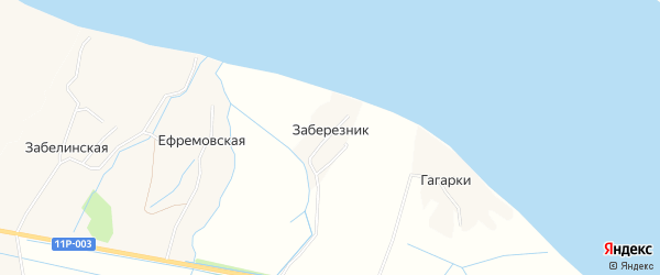 Карта деревни Заберезника в Архангельской области с улицами и номерами домов