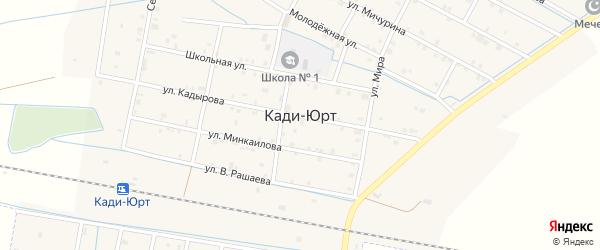 Улица А.Делимханова на карте села Кади-Юрт с номерами домов