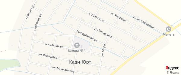 Молодежная улица на карте села Кади-Юрт с номерами домов