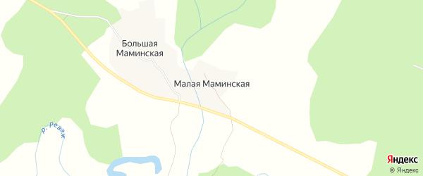 Карта Малой Маминской деревни в Архангельской области с улицами и номерами домов