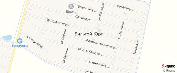 Строительная улица на карте села Бильтой-юрт с номерами домов