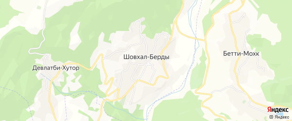 Карта села Шовхал-Берды в Чечне с улицами и номерами домов