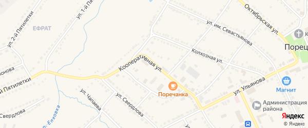 Кооперативная улица на карте Порецкого села с номерами домов