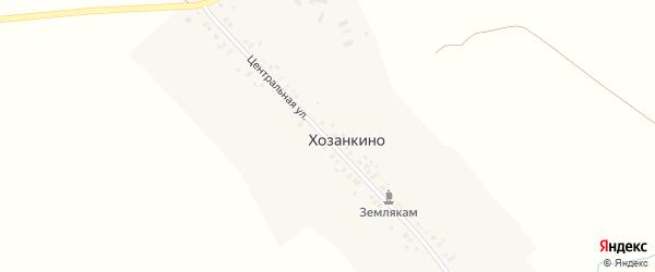 Центральная улица на карте деревни Хозанкино с номерами домов