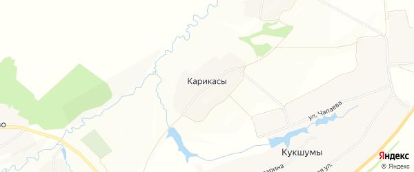 Карта деревни Карикас в Чувашии с улицами и номерами домов