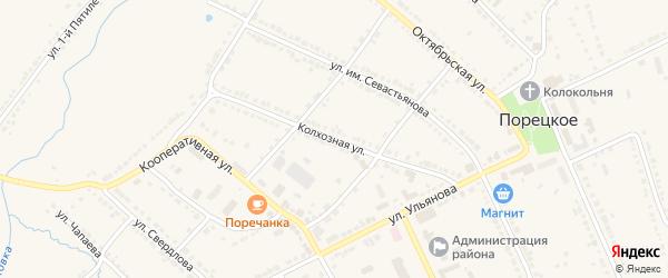 Колхозная улица на карте Порецкого села с номерами домов
