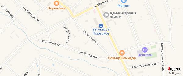 Советская улица на карте Порецкого села с номерами домов