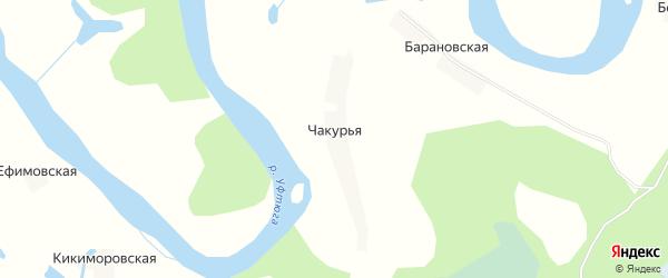 Карта Чакурьи деревни в Архангельской области с улицами и номерами домов
