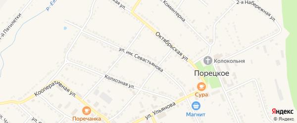 Улица Севастьянова на карте Порецкого села с номерами домов