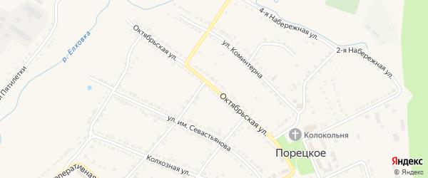 Октябрьская улица на карте Порецкого села с номерами домов