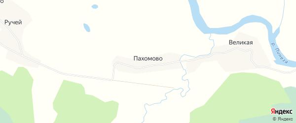 Карта деревни Пахомово в Архангельской области с улицами и номерами домов